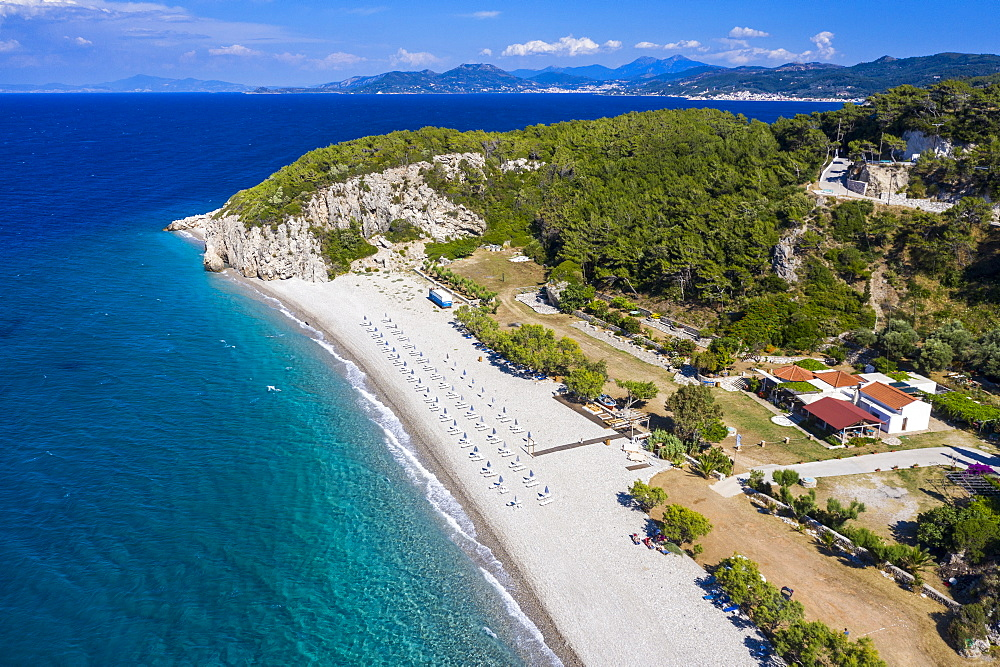 Aerial of Tsambou Beach, Samos, Greece (drone) - 1184-4482