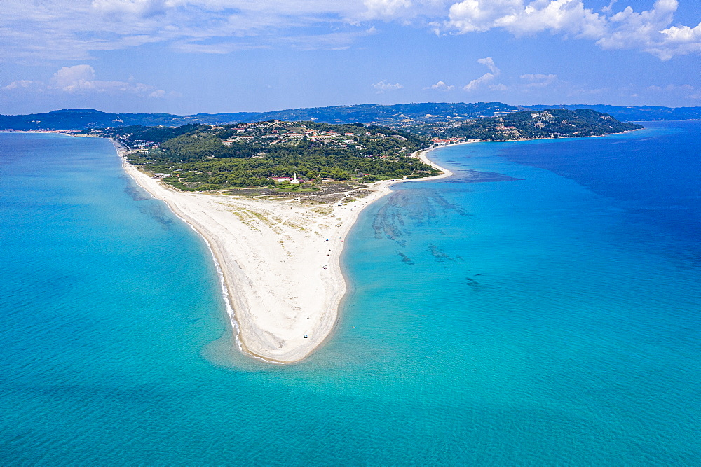 Aerial of Possidi beach, Kassandra, Possidi cape, Chalkidiki, Greece (drone) - 1184-4487