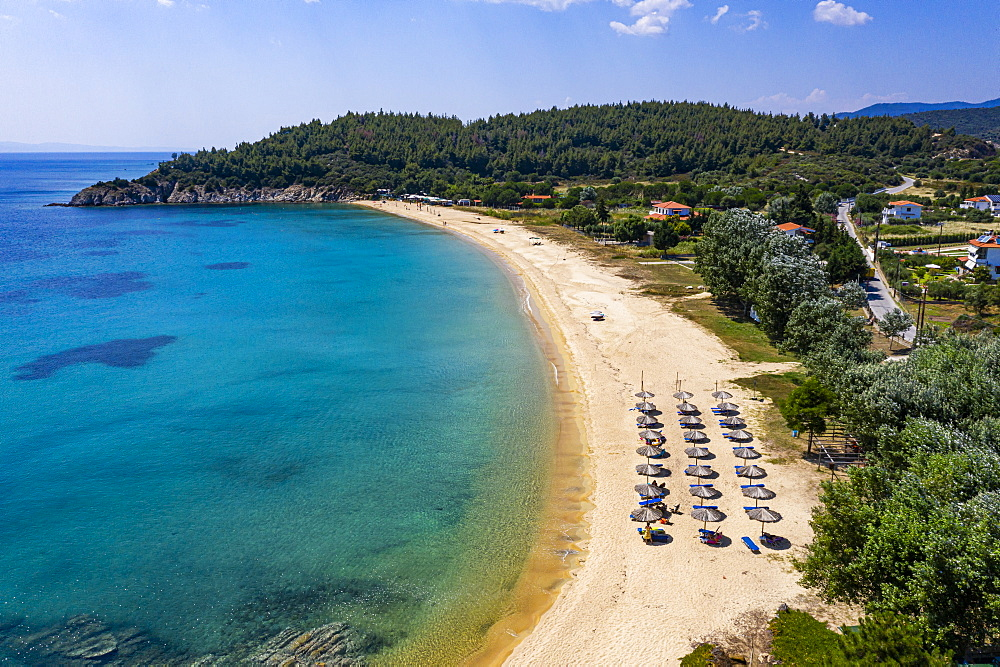 Aerial of Destenika beach, Sithonia, Greece (drone) - 1184-4489