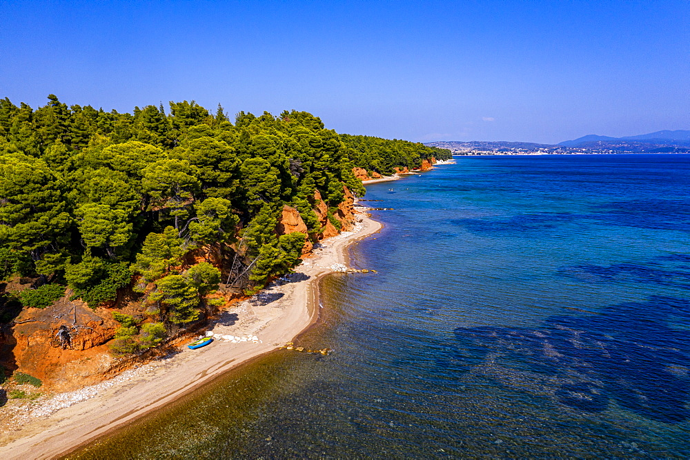 Aerial of Metamorfosi Beach, Sithonia, Chalkidiki, Greece (drone) - 1184-4492