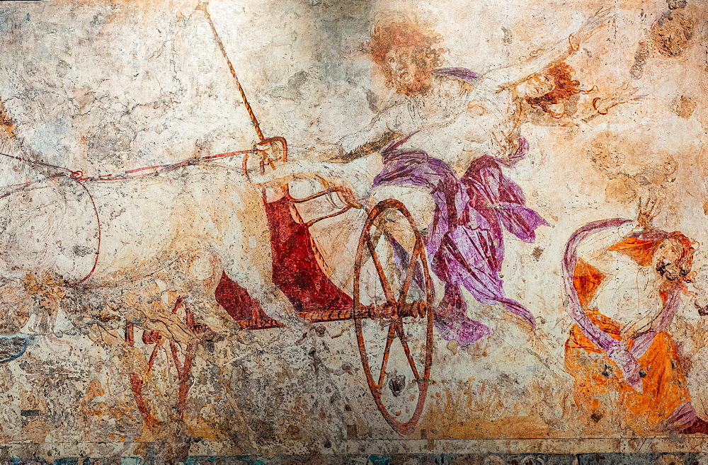 Old frescoes in the burial mound, Unesco world heritage site Aigai, Vergina, Greece
