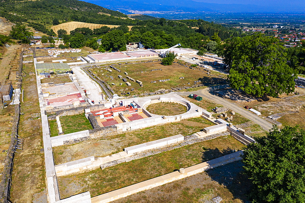 Aerial of the palace, Unesco world heritage site Aigai, Vergina, Greece - 1184-4505