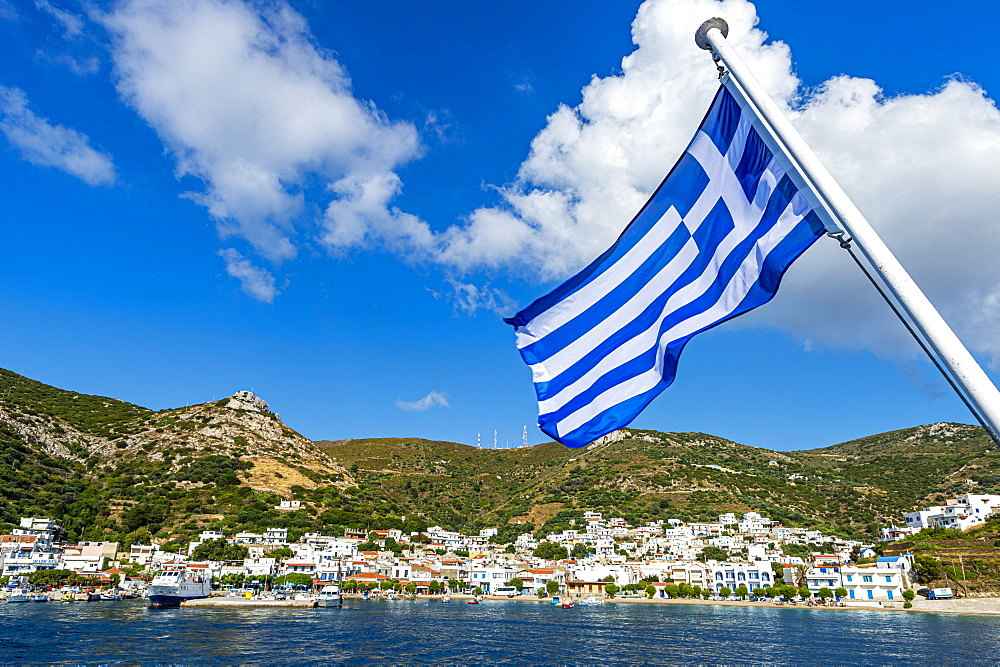 Greek flag in the Port of Kampi, Fourni, Greece - 1184-4510