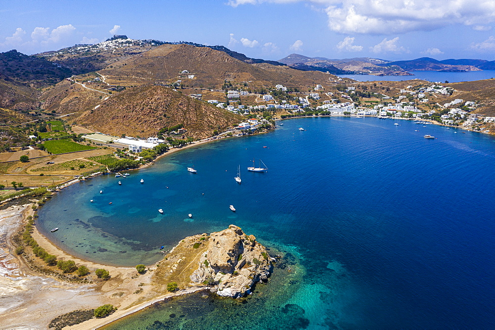 Aerial of the bay of Grikos, Patmos, Greece (drone) - 1184-4524