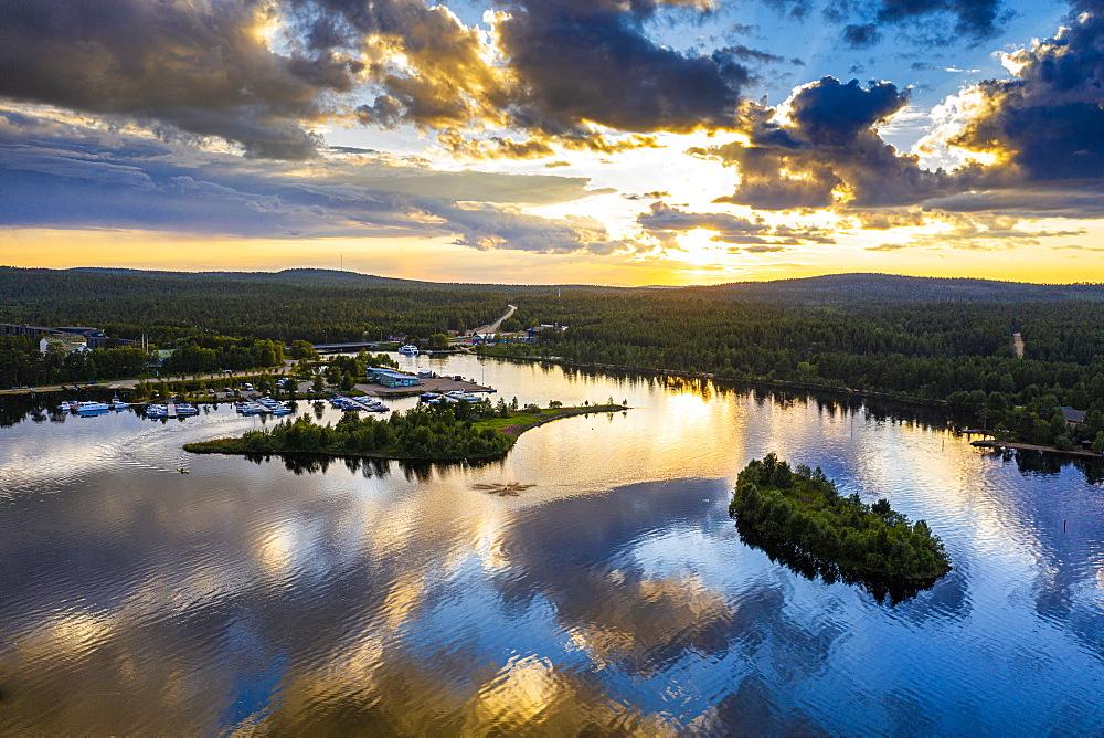 Clouds reflecting at sunset on Lake Inari, Inari, Lapland, northern Finland, Europe - 1184-4615