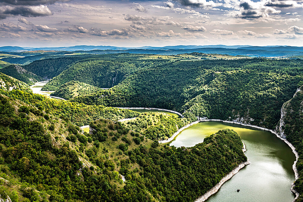 Uvac River meandering through the mountains, Uvac Special Nature Reserve, Serbia, Europe - 1184-4715