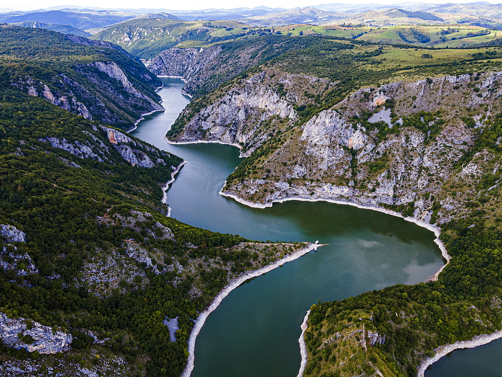 Uvac River meandering through the mountains, Uvac Special Nature Reserve, Serbia, Europe - 1184-4717