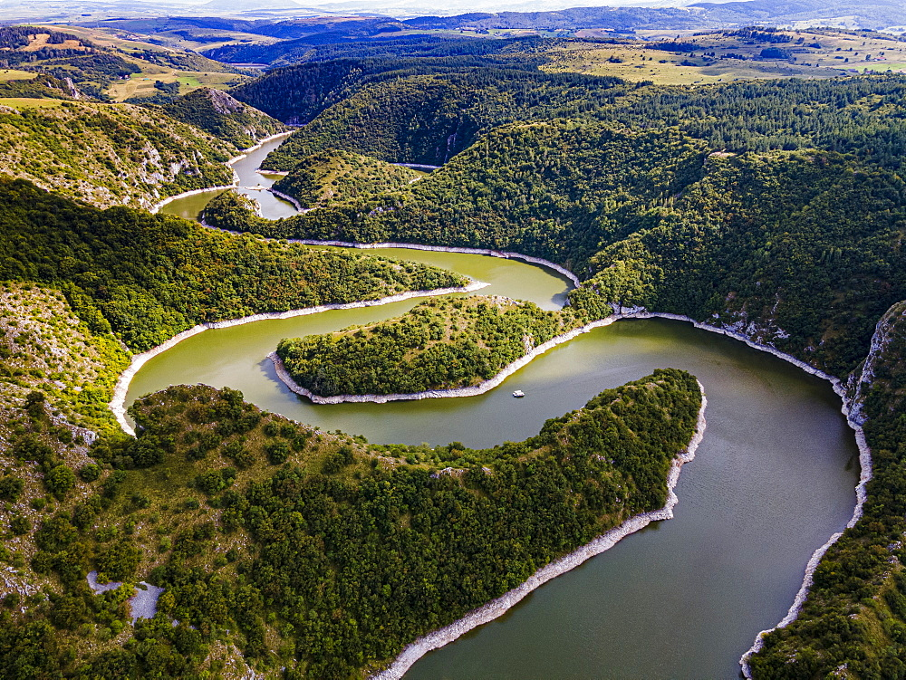 Uvac River meandering through the mountains, Uvac Special Nature Reserve, Serbia, Europe - 1184-4719