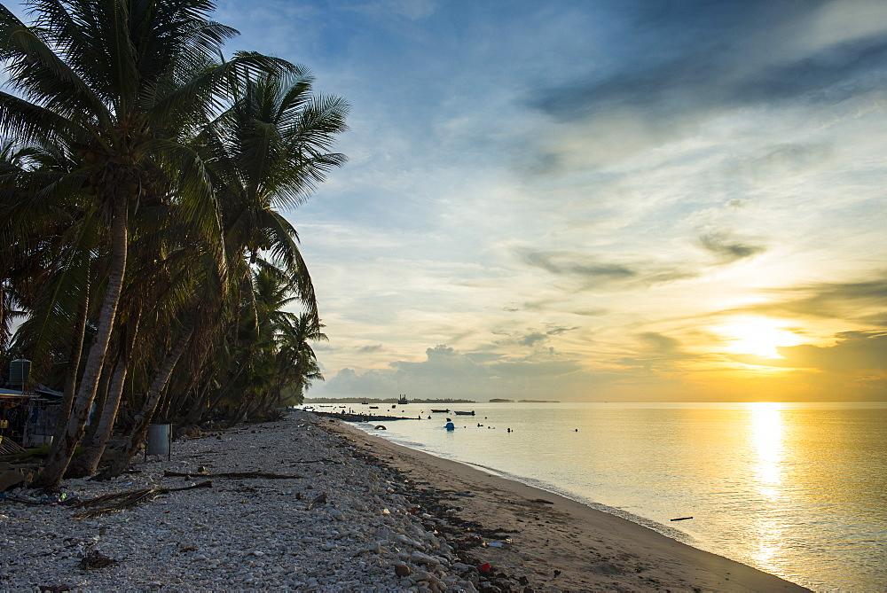 Public beach at sunset, Funafuti, Tuvalu, South Pacific