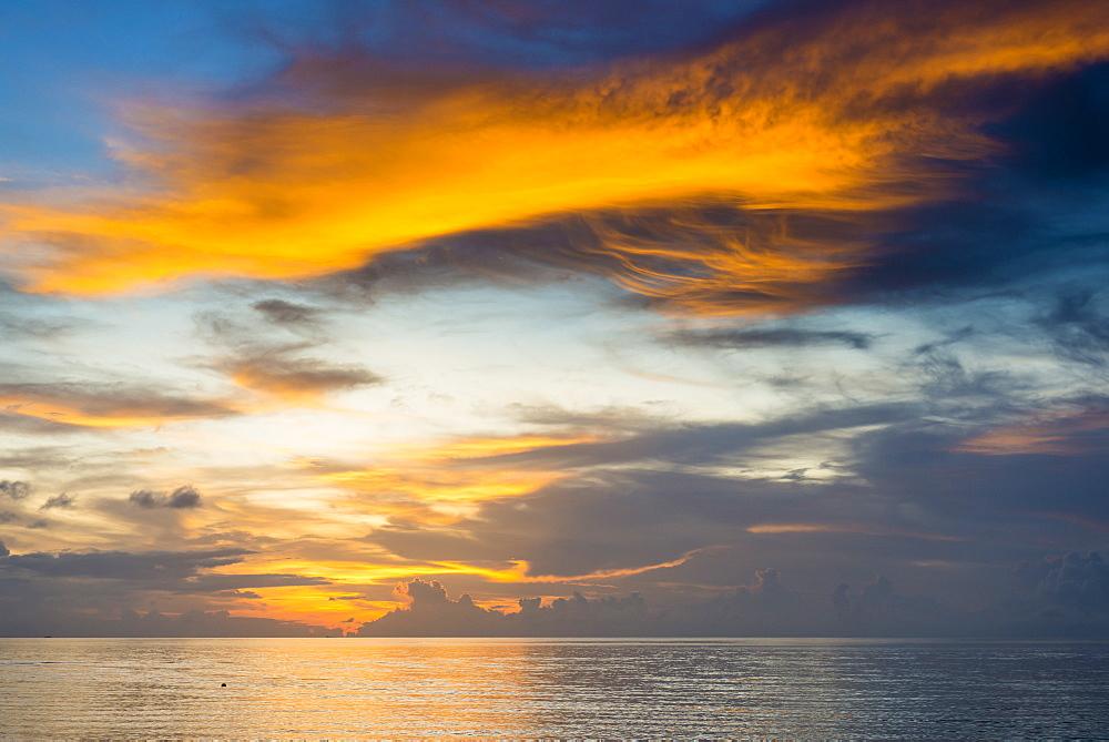 Sunset over the lagoon of Funafuti, Tuvalu, South Pacific