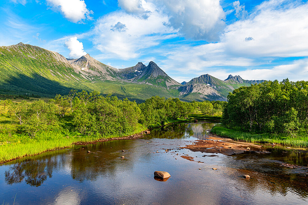 Beautiful river in the mountains of Andenes, Senja scenic road, Norway - 1184-5182