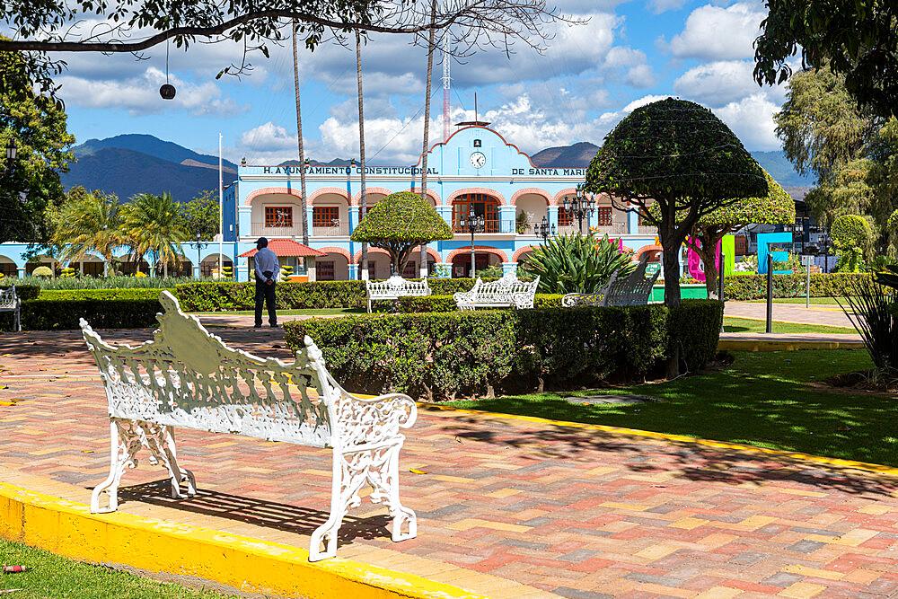 Beautiful town square of Santa Maria del Tule, Oaxaca, Mexico, North America - 1184-5513