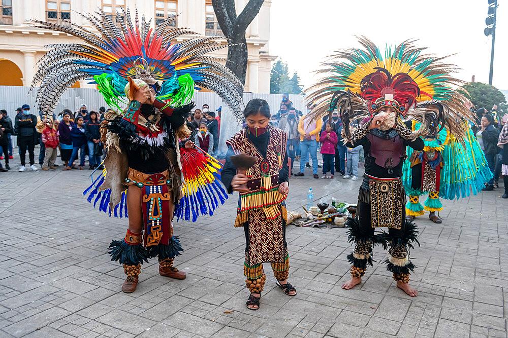 Tzotzil dancers performing for tourists, San Cristobal de la Casas, Chiapas, Mexico, North America - 1184-5517