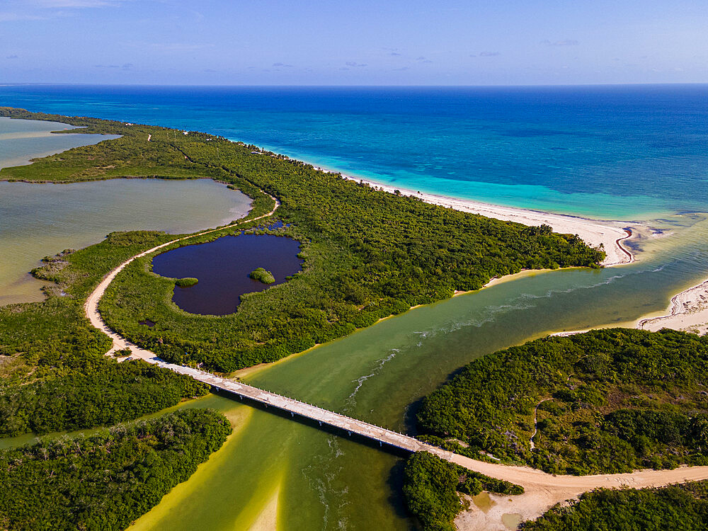Aerial of Sian Ka'an Biosphere Reserve, UNESCO World Heritage Site, Quintana Roo, Mexico, North America - 1184-5524