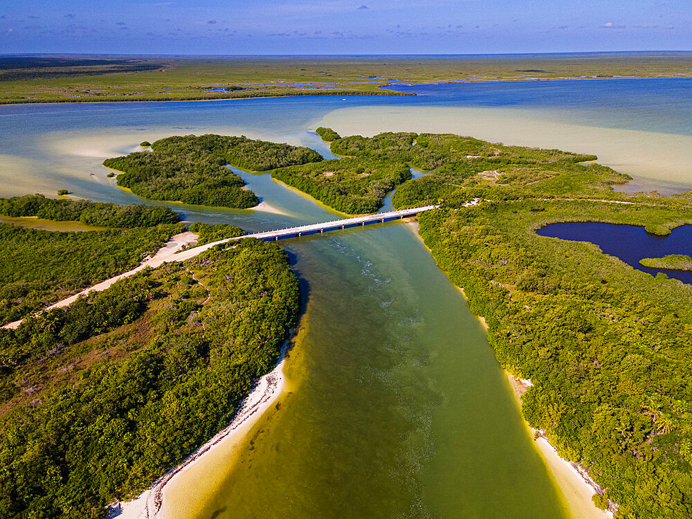 Aerial of Sian Ka'an Biosphere Reserve, UNESCO World Heritage Site, Quintana Roo, Mexico, North America - 1184-5525
