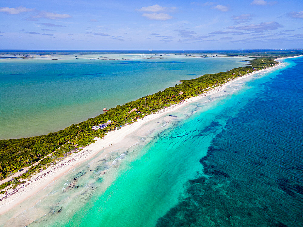 Aerial of the Unesco world heritage site biosphere reserve Sian Ka'an Biosphere Reserve, Quintana Roo, Mexico - 1184-5526
