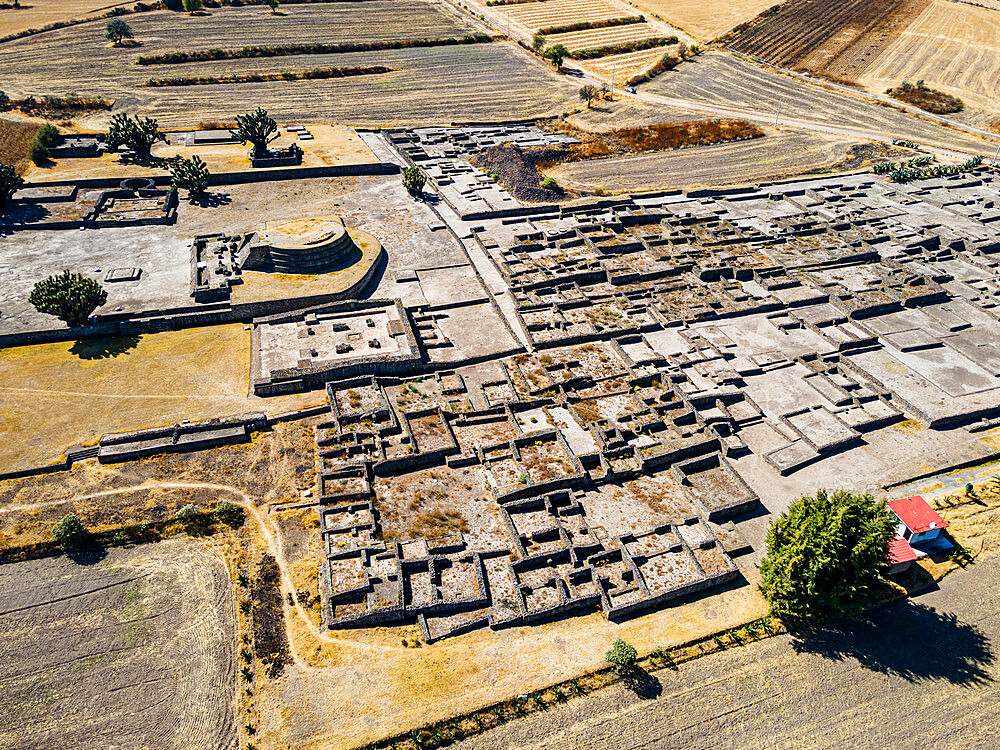 Aerial of the Mesoamerican archaeological site of Tecoaque, Tlaxcala, Mexico, North America - 1184-5530
