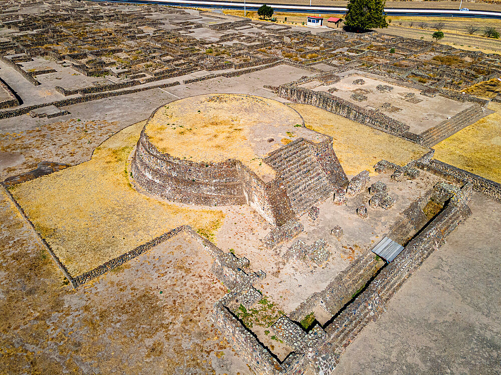 Aerial of the Mesoamerican archaeological site of Tecoaque, Tlaxcala, Mexico, North America - 1184-5532