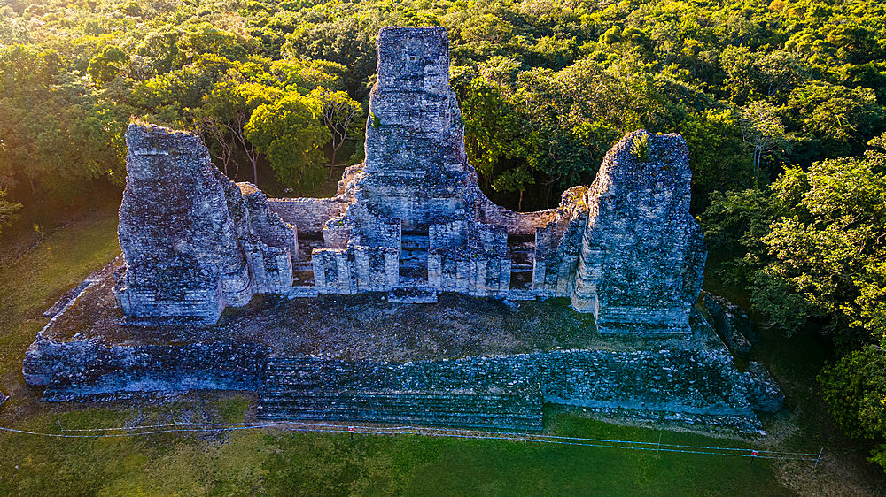 Aerial of the Maya ruins of Xpujil, Campeche, Mexico, North America - 1184-5563
