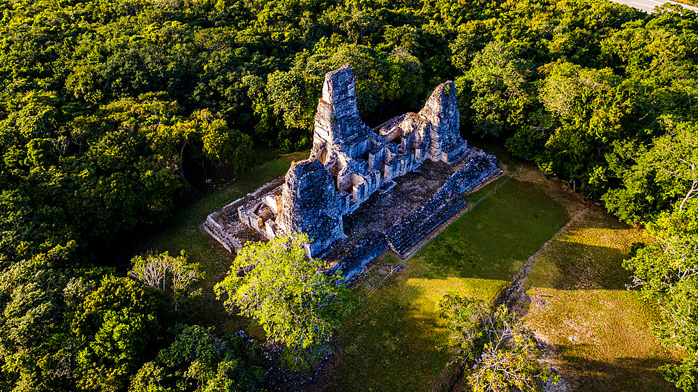Aerial of the Maya ruins of Xpujil, Campeche, Mexico, North America - 1184-5564