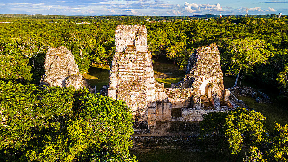Aerial of the Maya ruins of Xpujil, Campeche, Mexico, North America - 1184-5565