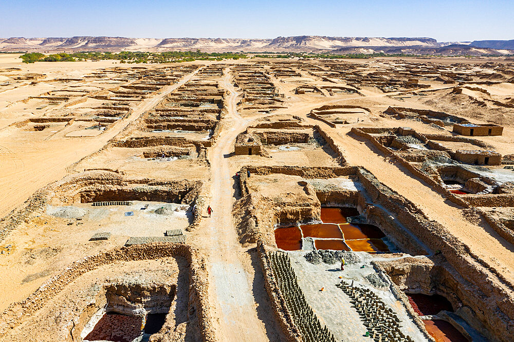 Aerial of the Salinas and their colourful salt pools, Bilma, Tenere desert, Niger, West Africa, Africa - 1184-5592
