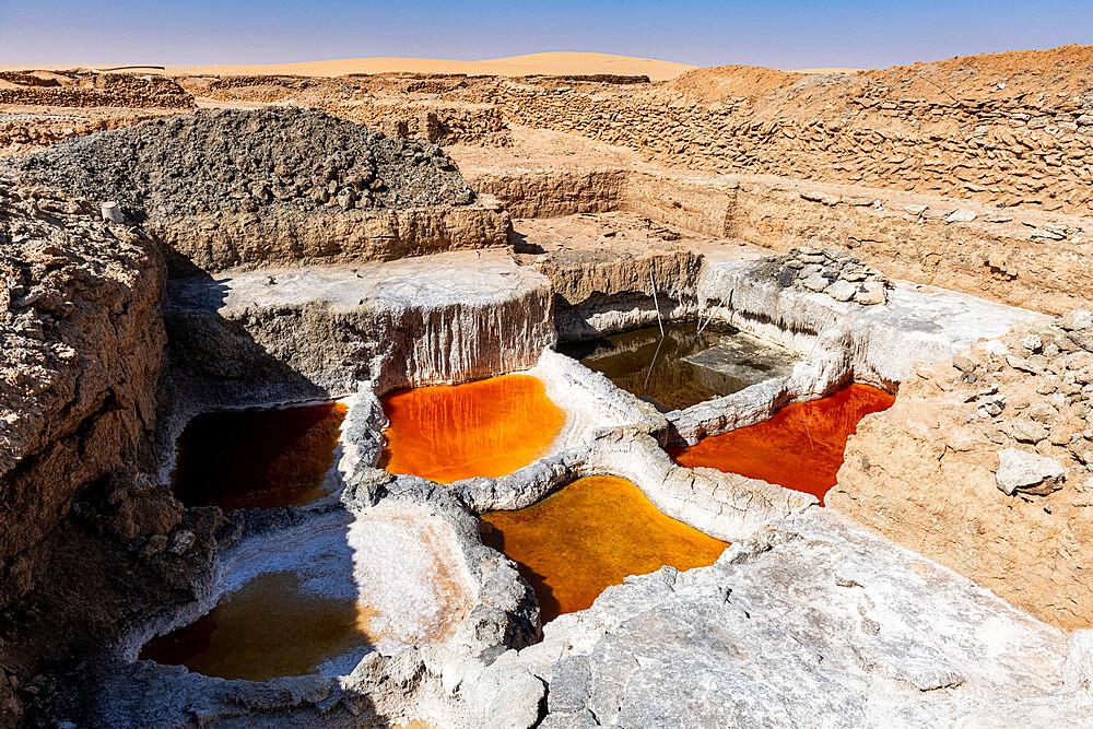 Multi coloured salt pools in the Salt mines of Bilma, Tenere desert, Niger, West Africa, Africa - 1184-5596