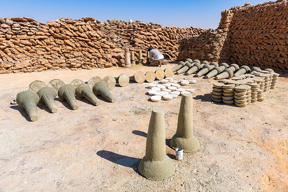 Salt formed into cylinders, salt mines of Bilma, Tenere desert, Niger, West Africa, Africa - 1184-5597