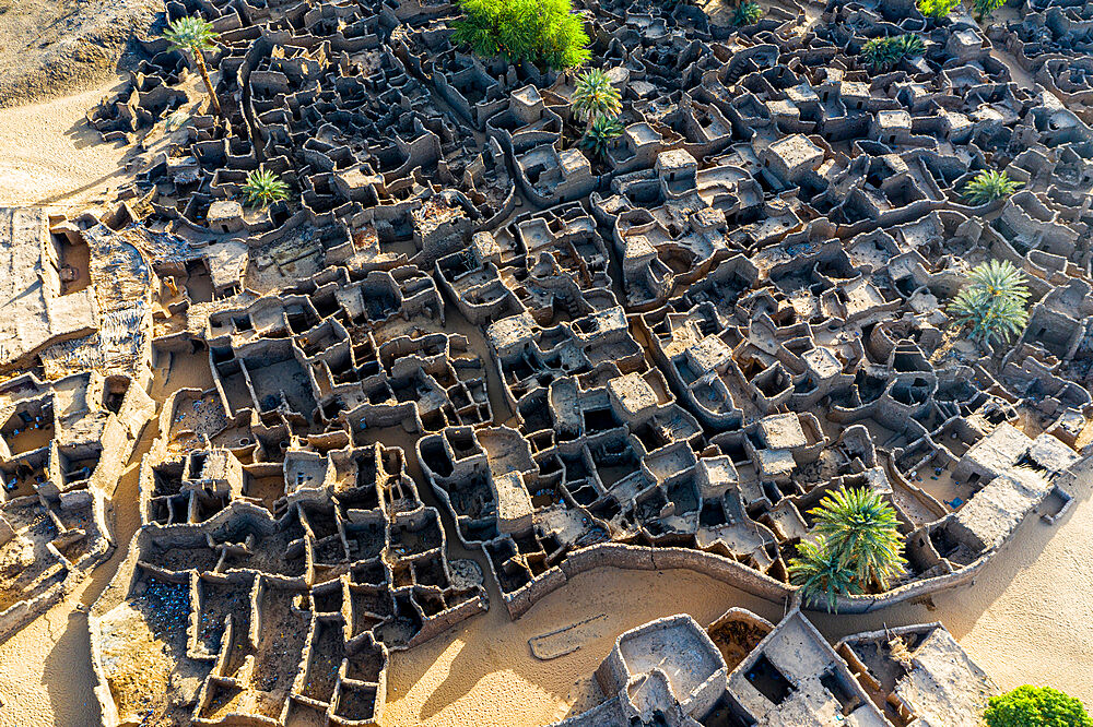 Aerial of the abandoned kasbah, oasis in Fachi, Tenere desert, Niger, West Africa, Africa - 1184-5601