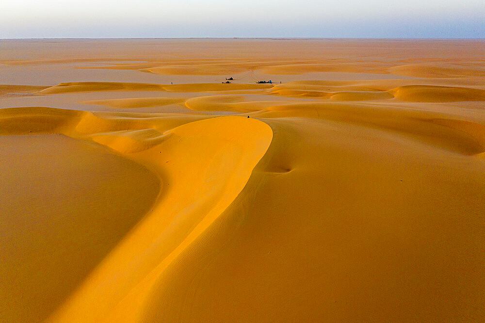 Aerials of sand dunes at sunset, Dirkou, Djado Plateau, Niger, West Africa, Africa - 1184-5607