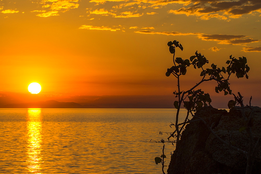 Otter Point at sunset, Cape Maclear, UNESCO World Heritage Site, Lake Malawi, Malawi, Africa