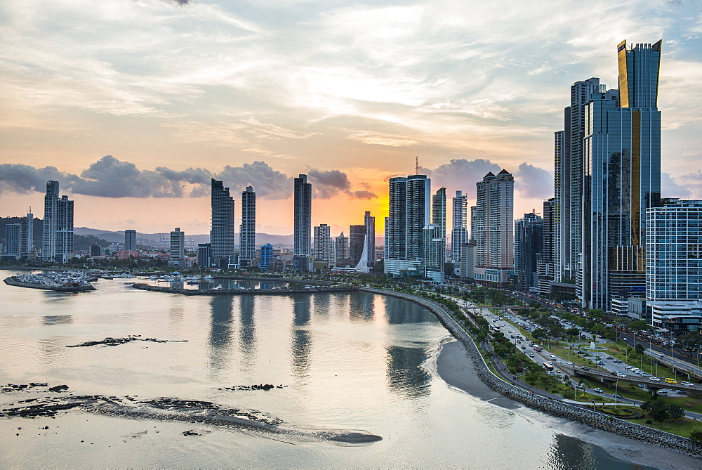 Skyline of Panama City at sunset, Panama City, Panama, Central America