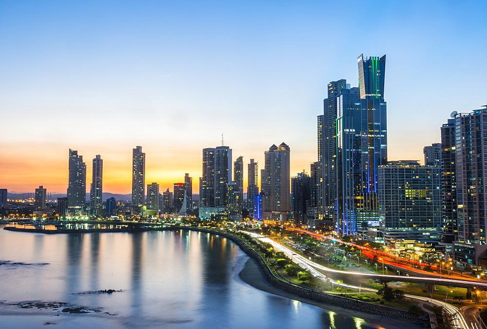 The skyline of Panama city at nighttime, Panama city Panama