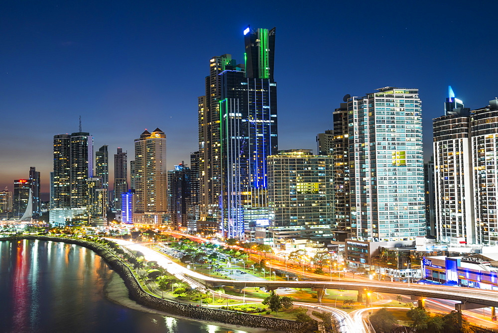 The skyline of Panama City at night, Panama City, Panama, Central America