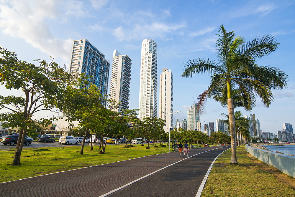 Walkway and the skyline of Panama City, Panama, Central America