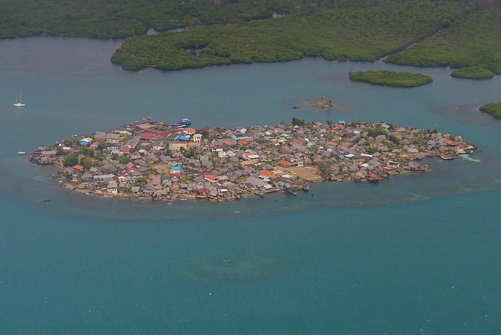 Aerial of a densely populated island, San Blas Islands, Kuna Yala, Panama, Central America