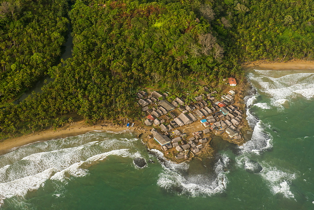 Aerial of a tiny village, San Blas Islands, Kuna Yala, Panama, Central America