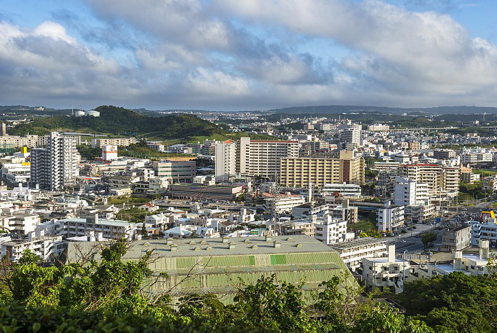 View over Naha from the Unesco world heritage sight Shikinaen Garden, Naha, Okinawa, Japan