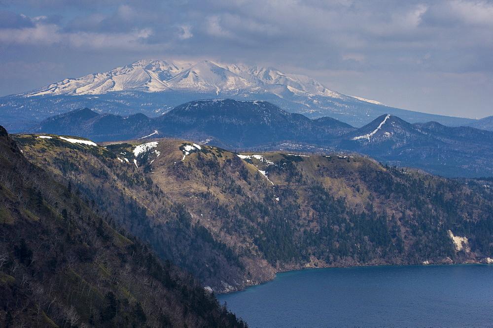 The caldera of Lake Mashu, Akan National Park, Hokkaido, Japan, Asia