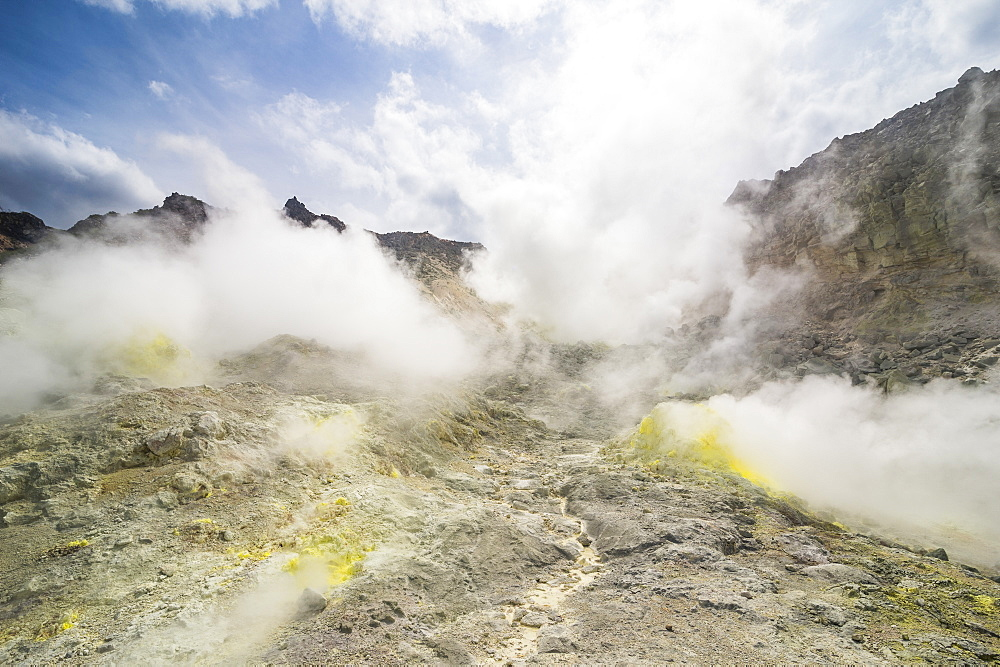Sulphur pieces on Iozan (sulfur mountain) active volcano area, Akan National Park, Hokkaido, Japan, Asia