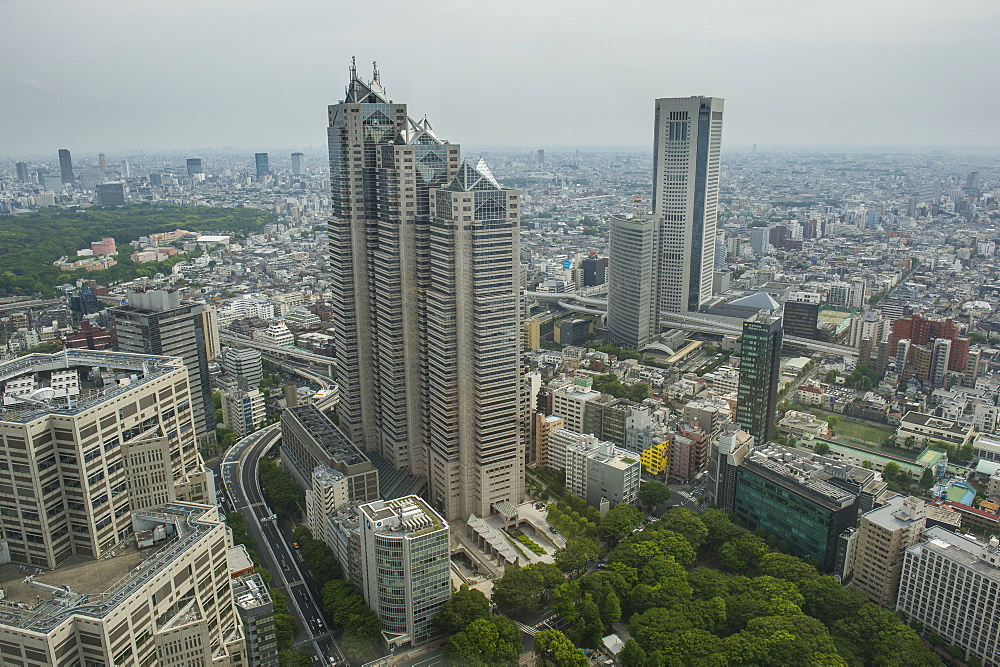 View over Tokyo from the town hall, Shinjuku, Tokyo, Japan, Asia