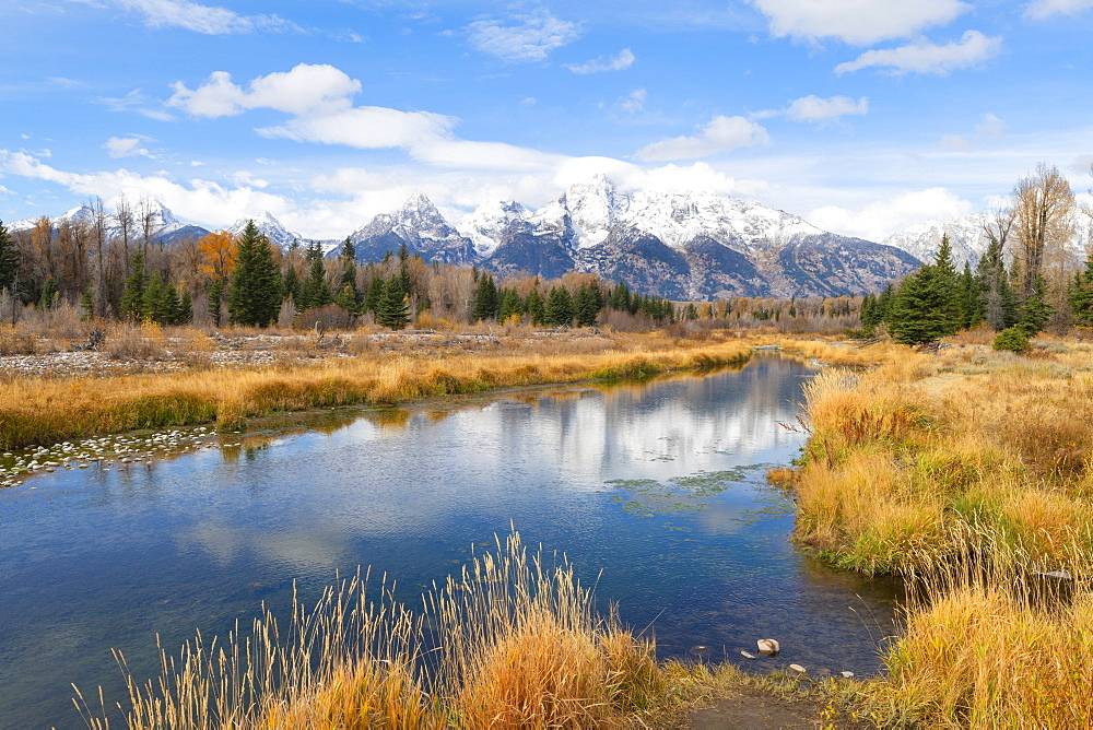 Schwabacher landing, Teton Range, Grand Teton National Park, Wyoming, United States of America, North America