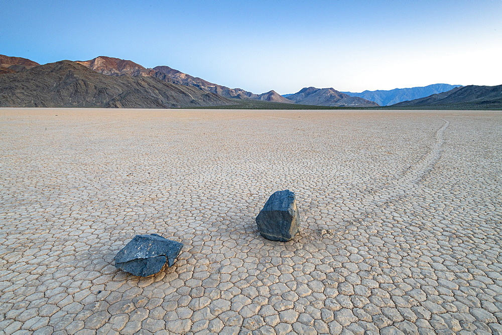 Moving boulders at Racetrack Playa in Death Valley National Park, California, United States of America, North America - 1186-1139