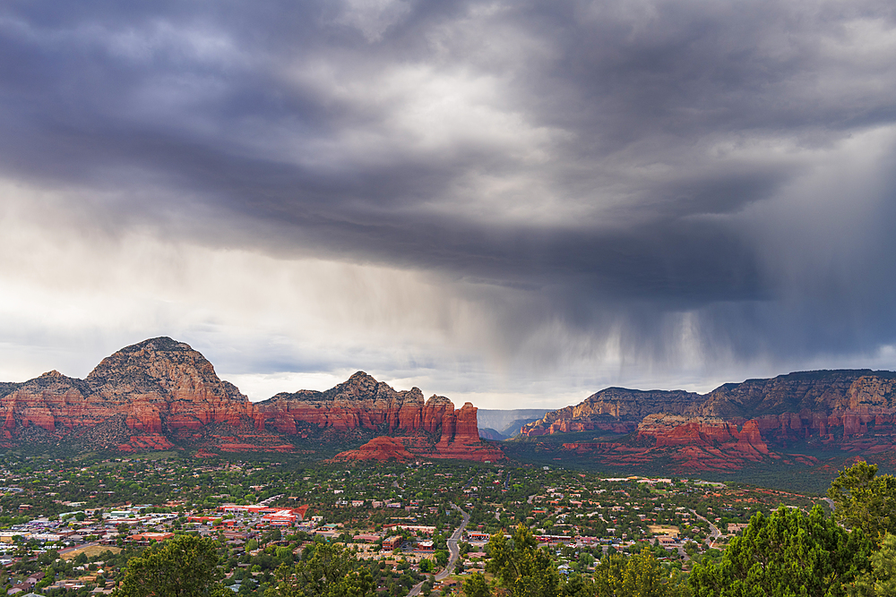 Moody sky over Sedona from airport mesa Sedona, Arizona, USA