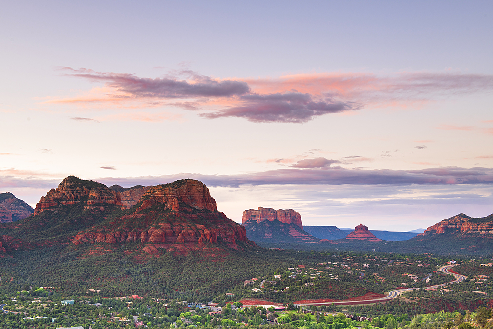 Moody sky over Sedona from Airport Mesa, Sedona, Arizona, United States of America, North America