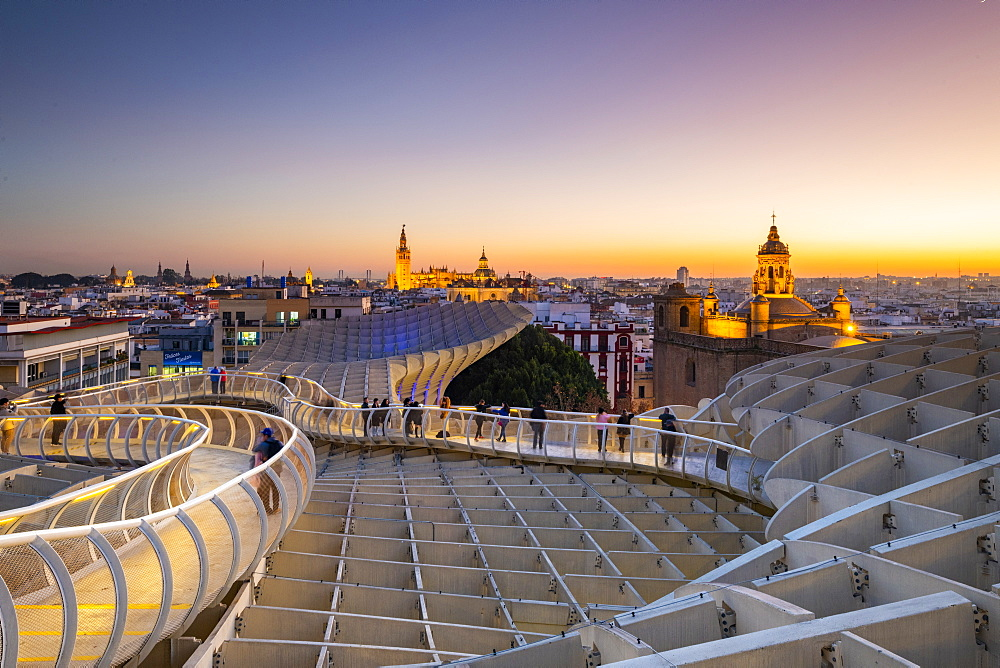 Spiral walkways of the Metropol Parasol, Plaza de la Encarnacion, Seville, Andalusia, Spain, Europe