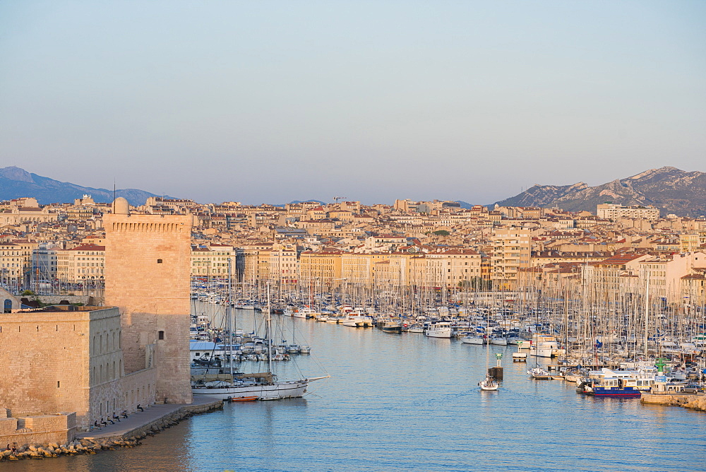Fort Saint Jean and Marseille harbour, Marseille, Bouches du Rhone, Provence, Provence-Alpes-Cote d'Azur, France, Mediterranean, Europe