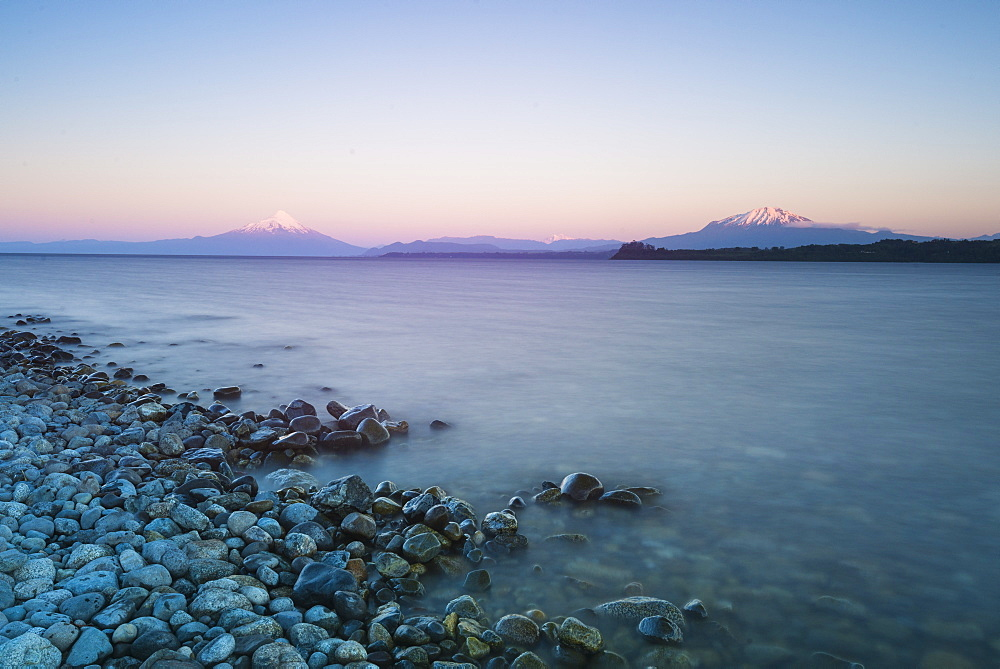 Sunrise over lake Llanquihue and Volcan Osorno, Puerto Varas, Chilean Lake District, Los Lagos, Chile