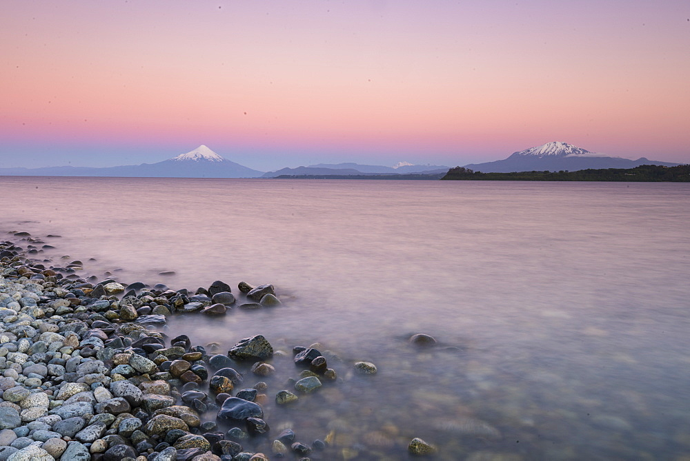 Sunset over lake Llanquihue and Volcan Osorno, Puerto Varas, Chilean Lake District, Los Lagos, Chile, South America