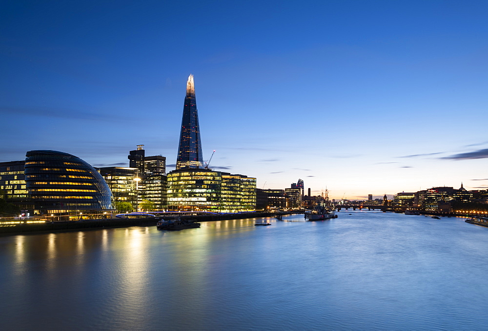 South Banks and The Shard reflecting in the River Thames, London, England, United Kingdom, Europe
